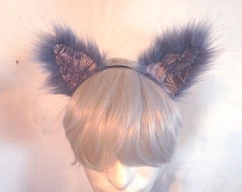 Violet Cat Ears cosplay fuzzy patchwork batik colorful ears headband rave catboy kawaii unisex hair accessory