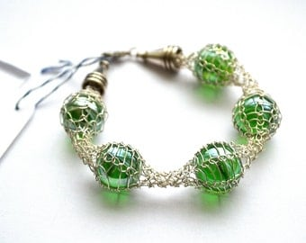 Sale Bracelet Green Vintage Glass Marble Knitted Silver Plated Wire