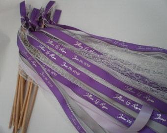 150  Personalized wedding ribbon wands,  Lace Wedding Wands,