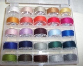 Genziana Wool Thread 25 Color Bobbin Set  #3 for Wool Applique Sue Spargo Colors