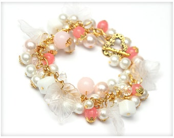 Beaded White, Golden and Pink Chunky Bracelet with Leaves, cluster bracelet.