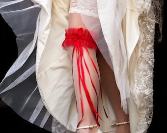 Carmen Red Garter Long Ribbons