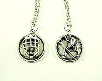 Silver Pendant Necklace,  Ice Hockey Goalie Mask or Hockey Skater Metal Necklace Mens Womens  Gift Handmade