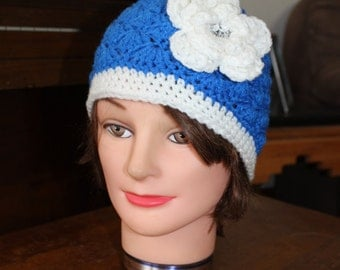 Blue and White Beanie 5t-Adult