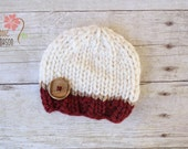 RUSH READY To SHIP - Wooly Knit Button Beanie, Newborn Photography Prop, Tan Cream and Maroon with Wooden Button