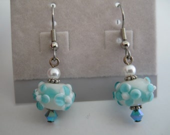 Aqua and white floral lampwork glass earrings with Swarovski crystal