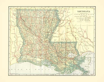 Antique LOUISIANA STATE MAP Instant Digital Download
