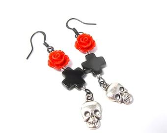 Gothic Earrings - Red Rose and Black Cross Skull Dangle Earrings - Rocker Jewelry - Pierced Goth Dangle / Drop Earrings - Goth Jewelry