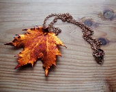 large Electroplated copper sugar maple leaf on raw copper chain.