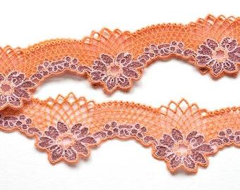 "RESERVED for MOMO:Orange Lace Trim, 2"" Tangerine Purple Sparkly Floral Trim, Decorative Fashion Trim, Costume, Lingerie, Lace Decor Dolls"