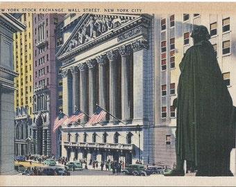 New York Stock Exchange - Wall Street - New York City - Vintage Postcard