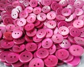 """Pearlized Buttons 5/8"""" Plastic 2 Hole Flat Back Bulk Lot Berry Ruby"""