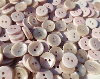 "Buttons Pearlized  5/8"" Plastic Dusty Mauve Rose Pink 2 Hole Bulk Lot"