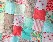 20% OFF Summer Sale, Verona Twin/Single Rag Quilt, red, grey, teal and green, Ready to Ship