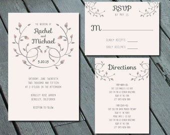 Floral Crest WEDDING Invitation Suite with RSVP and Info Card - Printed set