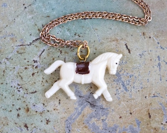 Tiny Horse Necklace - Antique Cute Pendant Celluloid Charm on a chain