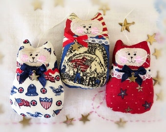 Patriotic 4th of July CAT Ornaments, Set of  3 Ornies Bowl Fillers, Americana, U.S.A. Party Favors Decorations Home Decor CharlotteStyle