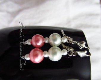 Pink and White Pearl Dangle Earrings