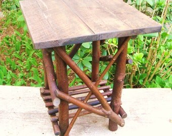 RUSTIC TWIG TABLE / Adirondack Style, Side Table, Occassional Table, Log  Furniture,