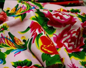 hot version china  T stage show north-east handmade printed flower and phoenix cotton fabric one yard