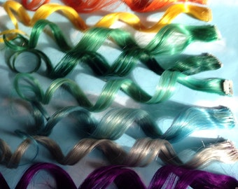 Rainbow human hair extensions colored hair extension clip mermaid human hair extensions unicorn colored hair extension clip hair wefts clip in pmusecretfo Image collections