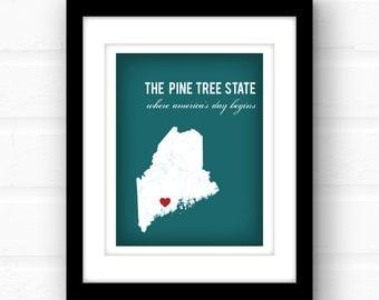 Maine art | Maine map print | Maine wedding gift | Portland, Maine | Maine print | custom state wall art