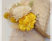 Sunny Collection - Pin Corsage - Preserved and dried wedding flowers -  mother of the bride - golden pale yellow craspedia sola berries