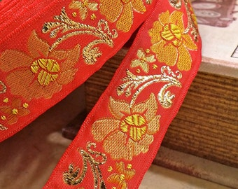 """1"""" Vintage French Red Jacquard Ribbon Trim with embroidered whimsical floral and metallic gold #592-07"""
