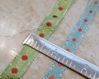 """1/2"""" Narrow French Vintage woven embroidered ribbon trim with metallic accent border: light green, light blue # 295"""
