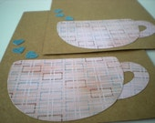 Handmade Cards Set of 2 Latte Love Coffee Hearts Pink Blue Kraft Brown Flat Notecards Collage Cut Paper