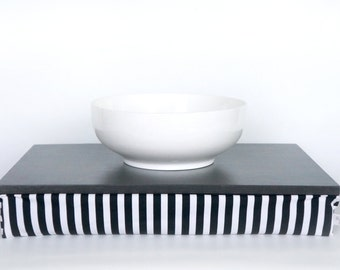 Breakfasts in Bed Tray - dark graphite grey with black and white striped Pillow