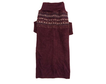 Big Dog Clothing, Large Soft Maroon Winter Designer Sweater, Puppy Apparel
