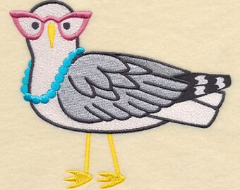 Brainy Seagull in Glasses Embroidered Flour Sack Hand/Dish Towel