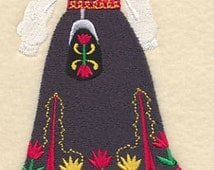 Norwegian Dress Form Embroidered Flour Sack Hand/Dish Towel