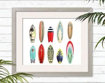 Surf Board - Watercolor Print