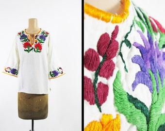 Vintage 60s Hippie Tunic Shirt Guatemalan Hand Embroidered Bell Sleeves - Women's Medium