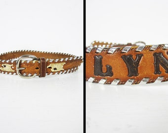 Vintage Tony Lama Leather Belt Lyn Chrome Laced Woven Tooled Made in USA - Size 28