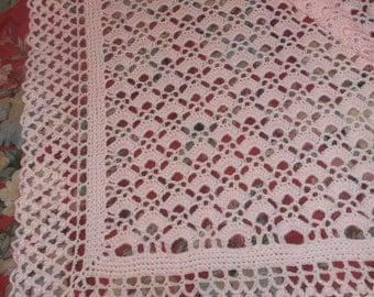 Crocheted Pink Baby Afghan (bk86)