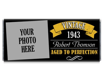 Set of 12 - Aged to Perfection Photo Birthday Candy Bar Wrappers - Gold, Silver Adult Milestone Favors 40th, 50th, 60th, 70th, 80th Any Age
