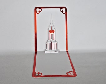VALENTINE'S EMPIRE STATE Building Pop Up 3d Card Home Decoration Origamic Architecture Hand Cut in White and Metallic Shimmery Red OOaK