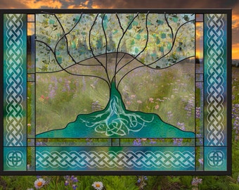 Celtic Tree of Life Stained Glass Window Panel mother wedding anniversary family celtic knot heritage