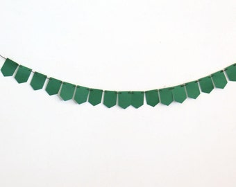 Rustic Green Banner, Paper Bunting, Dark Green Decoration, Party Streamer, Home Decor, Wall Hanging, Photography Prop