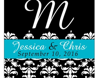 80 - 2 inch Custom Glossy Waterproof Wedding Stickers Labels - many designs to choose from - change designs to any color, wording WS-003