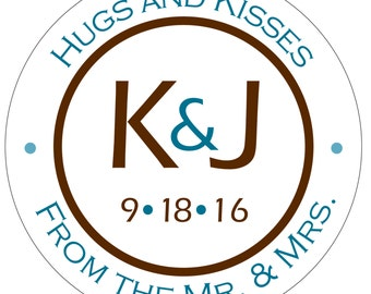 120 - 2inch Personalized Waterproof Wedding Stickers Labels - hundreds of designs to choose from - change design to any color, etc WR-002