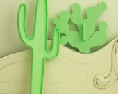 Two(2) Cookie Cutters - Vintage Western - Cactus Shaped Cookie Tools - Pale Green Kitchenware - Retro Baking Equipment