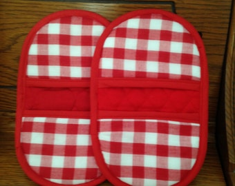 Mini Microwave Mitts-Oven Mitts-Red & White Checkerboard w/Red Trim-Free Shipping