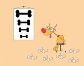 Orange Dog and Eye Exam with Bones on Print Mug for VETERINARIAN or VETERINARY OFFICE
