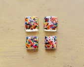 Mini Square Sprinkle Earrings by The Fuzzy Pineapple Resin Rainbow Confetti Glitter Multi Stud Post Candy Fair Carnival Colorful Festival