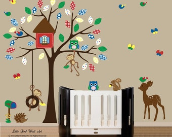 Forest friends wall decal, decal tree wall, kids wall decal, kids tree decal