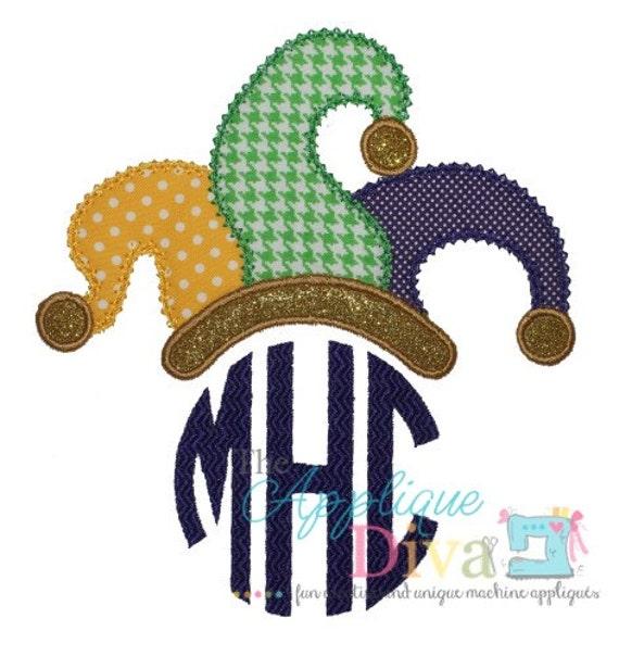 mardi gras jester hat monogram tooper embroidery design. Black Bedroom Furniture Sets. Home Design Ideas